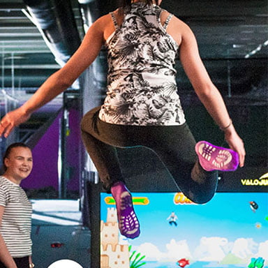 Interaktiv trampolinpark Event Center Knock em Down Jump WorldJump World